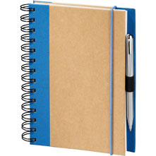compact recycled journal with blue trim
